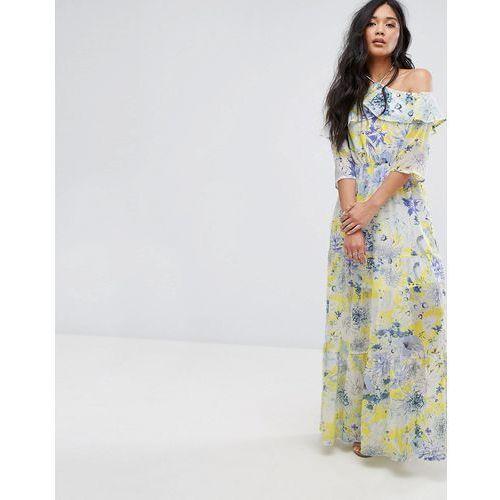 tie detail floral print maxi dress - yellow marki Boohoo