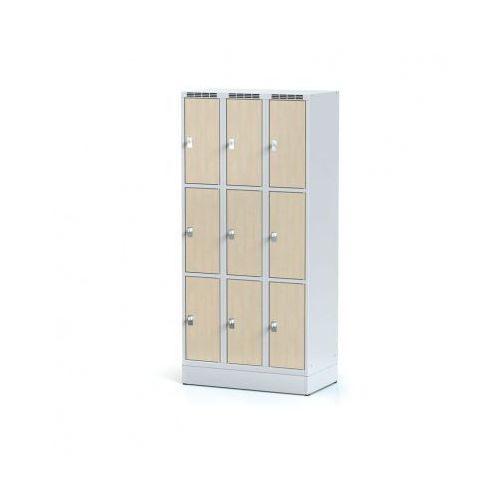 Alfa 3 Szafka ubraniowa 9 drzwi 300x300 mm na cokole, drzwi lpw, brzoza, zamek obrotowy