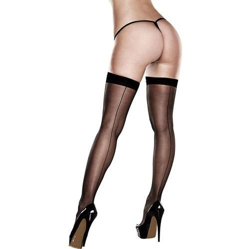 Pończochy – Baci Sheer Thigh Highs With Backseam With Banded Silicone Stay-Up