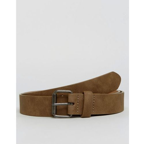 slim belt in brown faux leather with vintage finish and buckle - brown marki Asos