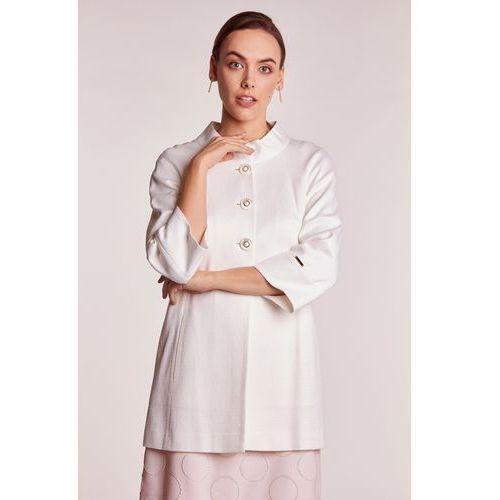 Kremowy płaszcz ze stójką - L'ame de Femme, 1 rozmiar
