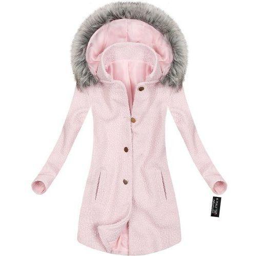 Krótki płaszcz zimowy z kapturem pudrowy róż (64art) - różowy marki Made in italy
