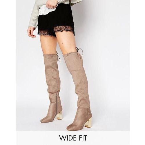 New Look Wide Fit Suedette Tie Back Over The Knee Boot With Metal Block Heel - Brown