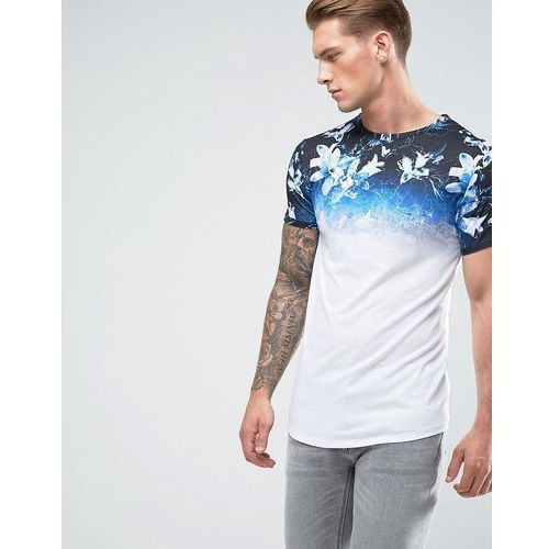 River Island Muscle Fit T-Shirt With Fade Floral Print In White - White