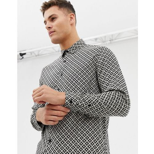 New look regular fit shirt with mono tile print in black - black