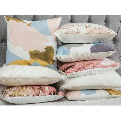 Poduszka dekoracyjna w siatkę 45 x 45 cm różowa clarkia marki Beliani