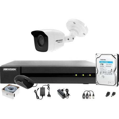Zestaw monitoringu po skrętce utp full hd hwd-6104mh-g2 1 x hwt-b120-m 1tb samodzielny montaż marki Hikvision hiwatch