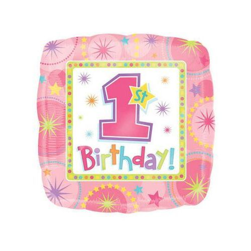 Amscan Balon foliowy różowy 1st birthday pink - 45 cm - 1 szt.