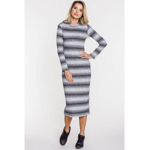 Sukienka z prążkowanej dzianiny w paski - Ryba, 1 rozmiar