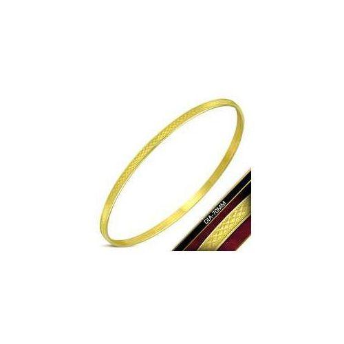 925.pl Płaska bransoleta / bangle ze stali nierdzewnej w kolorze złotym, stal 316l