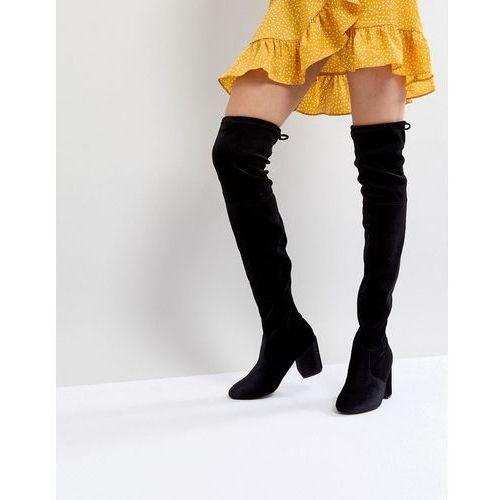 velvet over the knee block heeled boot with tie back - black marki New look
