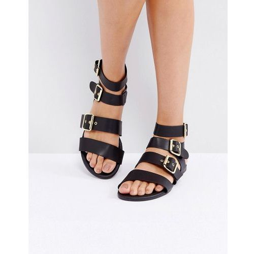 Park Lane Metal Trim Buckle Flat Sandal - Black, kolor czarny