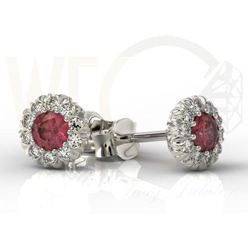 Kolczyki z białego złota APK-42B z rubinem i diamentami., kolor czerwony
