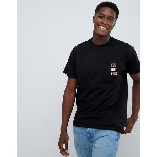t-shirt with you got this embroidery in black - black, New look, XS-L