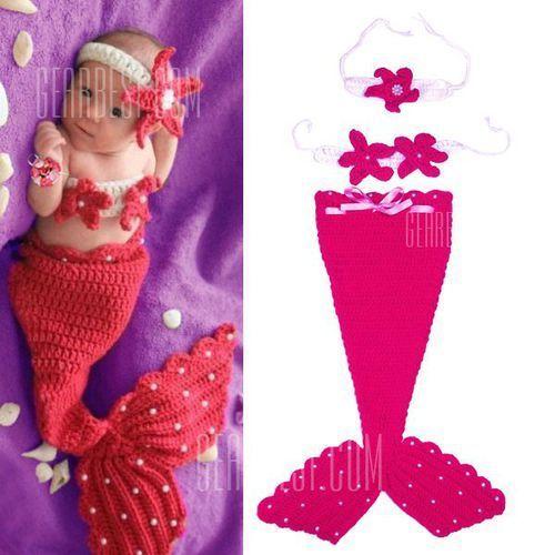 Chic Quality Hand Knitting Mermaid Design Three-Piece Suit Baby Sleeping Bag Blanket