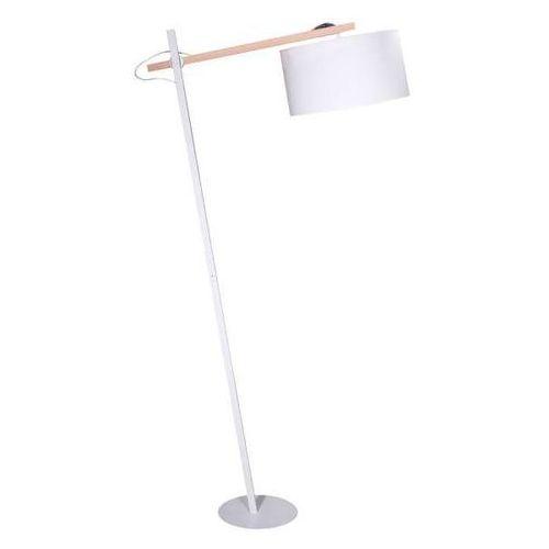 Stojąca LAMPA podłogowa FRISCO CS-FL052-1 Zumaline abażurowa OPRAWA w stylu skandynawskim drewno biała