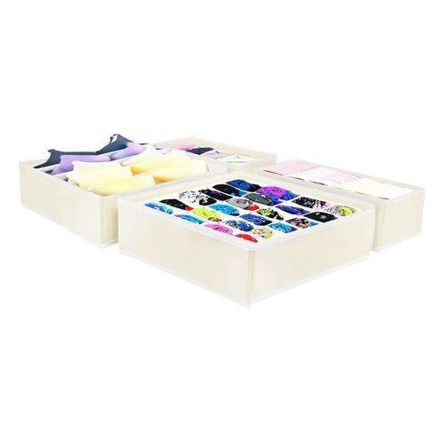 Organizer do szuflady na bieliznę z przegródkami beżowy zestaw 4 szt. (5907719405438)