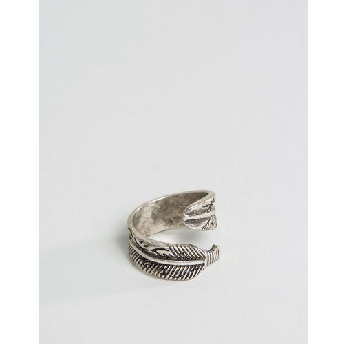 ASOS Ring With Feather Wrap Around - Silver