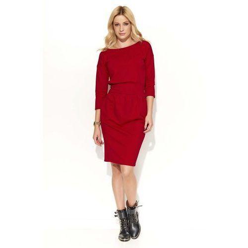 Czerwona Sukienka Bombka z Kieszeniami