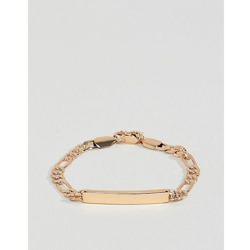 Chained & able figaro chain id bracelet in gold - gold