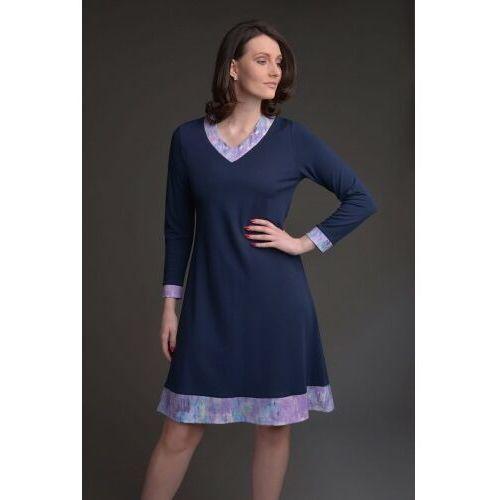 Sukienka trapezowa granatowa z fioletowymi wstawkami - KOLEKCJA WRZOS, D84B-497EC