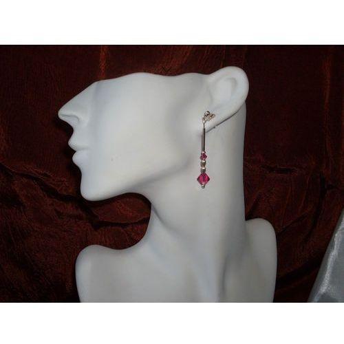 K-00013 Kolczyki z kryształkami Swarovski - fuksja, kolor różowy