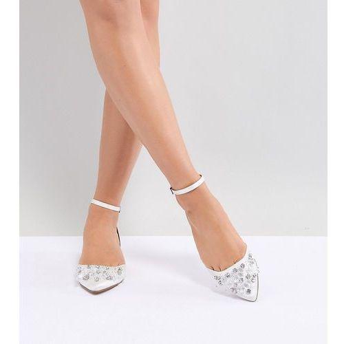 design love lock wide fit embellished ballet flats - white, Asos