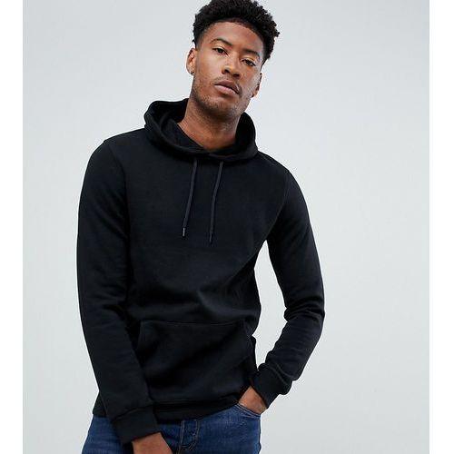 Burton menswear big & tall hoodie with zip detail in black - black