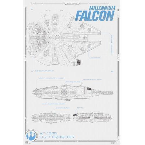 Star Wars Gwiezdne Wojny Przebudzenie Mocy Sokół Millenium Schemat Budowy - plakat