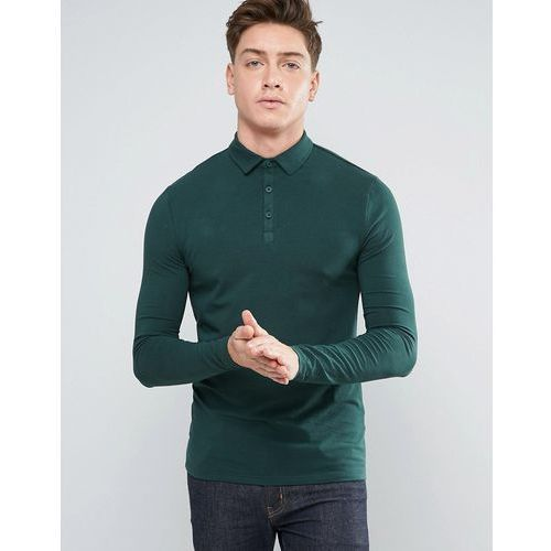 River Island Long Sleeved Muscle Fit Polo In Dark Green - Green