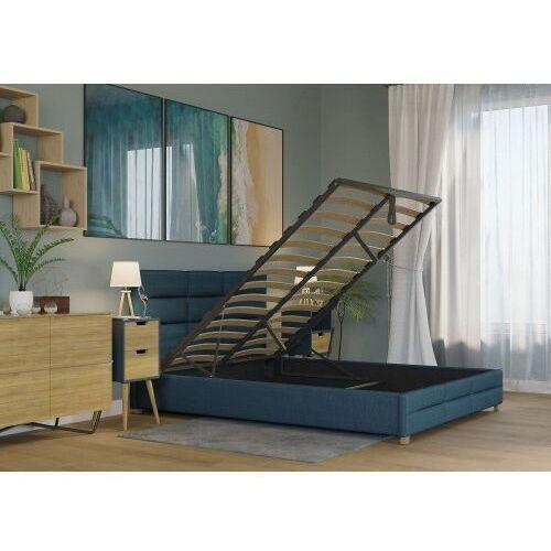 Łóżko 140x200 tapicerowane bergamo + pojemnik + materac sawana lazurowe marki Big meble