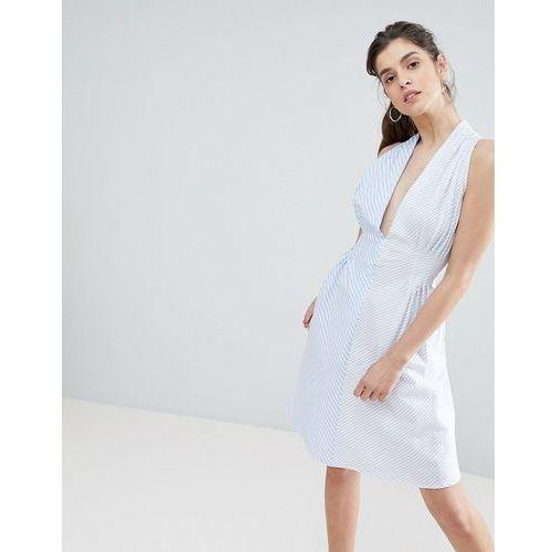 asymmetric spliced stripe dress - blue, Boohoo
