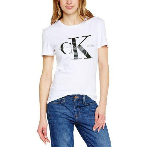 Calvin klein dżinsy damski t-shirt shrunken tee, jednokolorowy - m marki Calvin klein jeans