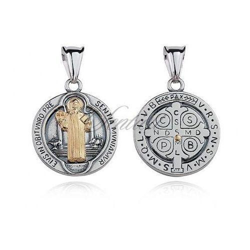 Srebrny oksydowany medalik pr.925 Święty Benedykt z pozłacanym wizerunkiem - M0190OX_Z, M0190OX_Z