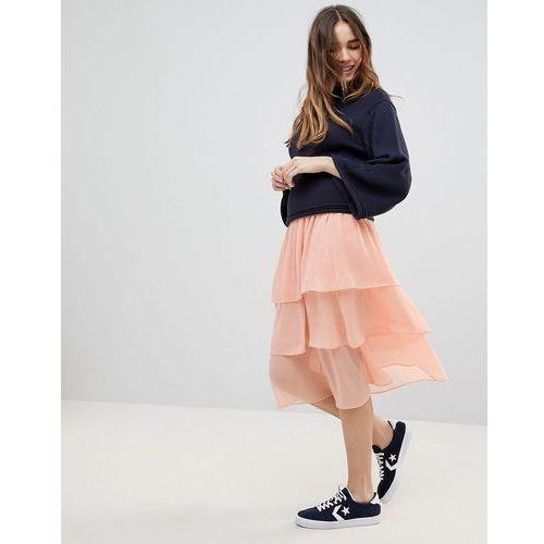 tiered midi skirt - orange marki Monki
