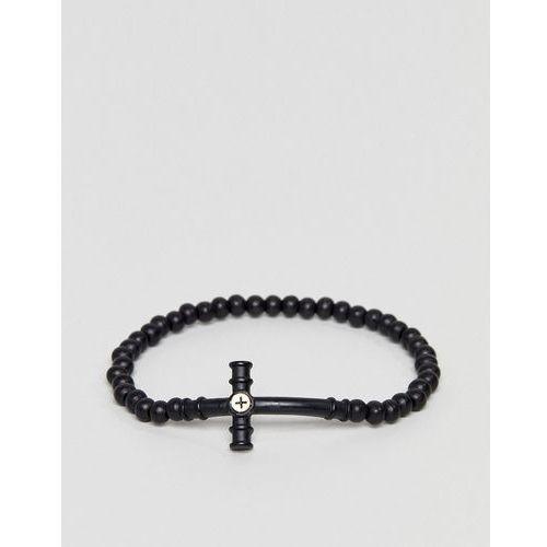 Icon brand black beaded bracelet with cross pendant - black