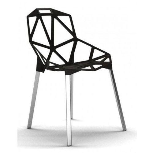 Krzesło Kors czarny z aluminiowymi nogami