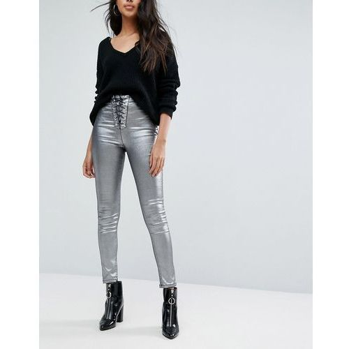 Missguided Coated Lace Up Skinny Jean - Silver