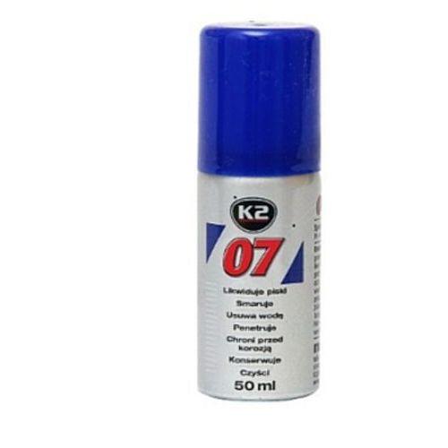 K2 07 50ml likwiduje piski, smaruje, czyści, penetruje, chroni przed korozją.