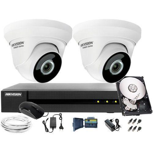 2 x HWT-T223-M Zestaw monitorowania klatki schodowej, korytarza Hikvision Hiwatch HWD-6104MH-G2, 1TB, Akcesoria