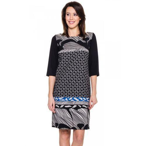 Czarno-niebieska sukienka we wzory - Metafora, 1 rozmiar