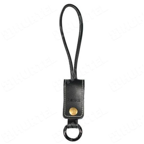 REMAX brelok na klucze z naturalnej skóry z kablem USB Lightning czarny - Czarny