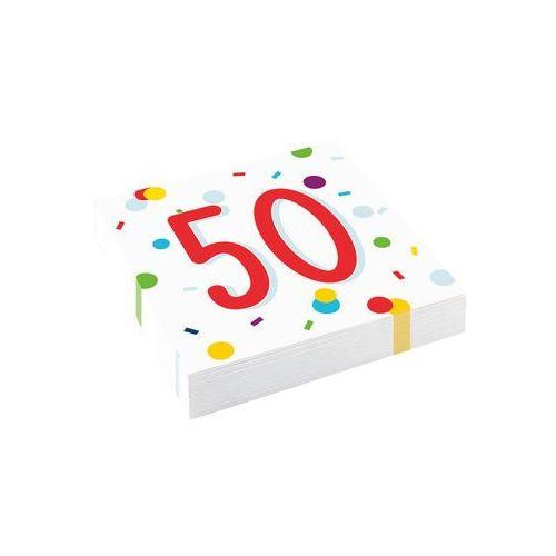 Serwetki urodzinowe na pięćdziesiąte urodziny Konfetti - 50tka - 33 cm - 20 szt. (0194099005302)