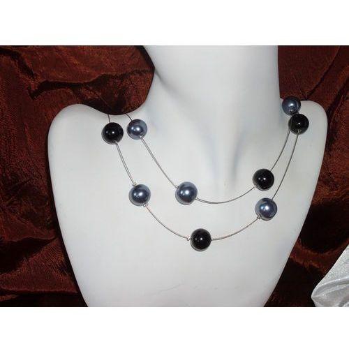 N-00018 Naszyjnik z perełek szklanych, popielatych i czarnych, kolor czarny