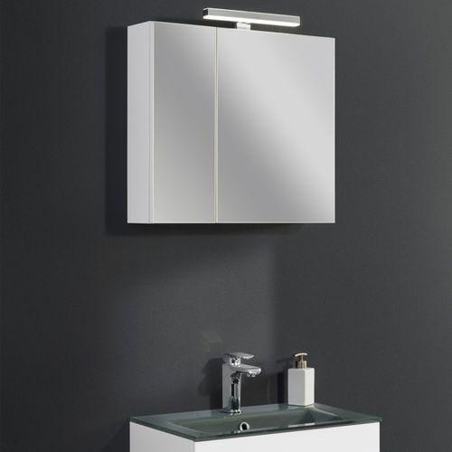 Szafka lustrzana z białym korpusem oraz oświetleniem LED GAMMA