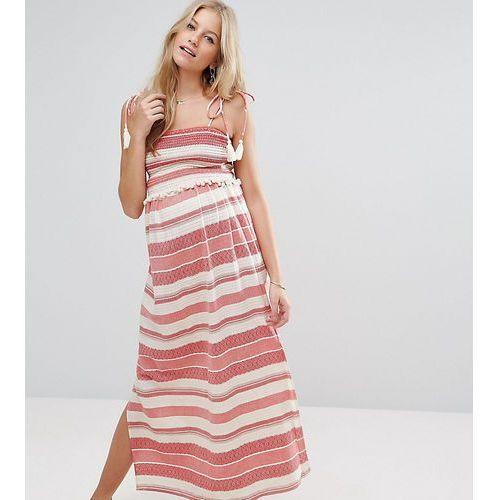 stripe maxi dress with pom pom and shirring detail - red marki Asos maternity