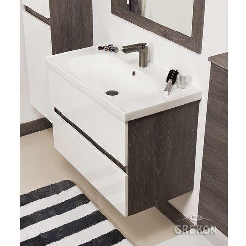 Szaro-biała szafka łazienkowa LED z umywalką 85/46 Grace Gante
