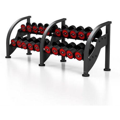 Zestaw hantli stalowych gumowanych 5 - 27,5 kg ze stojakiem Marbo Sport - czerwony