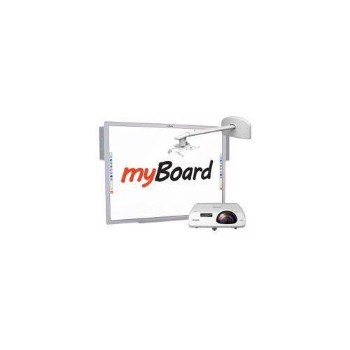 """Zestaw! tablica silver 84""""c + projektor krótkoogniskowy epson eb-530 + uchwyt ścienny myboard bw120s + okablowanie 10 m (230v, hdmi) + głośniki amp-32 marki Myboard"""