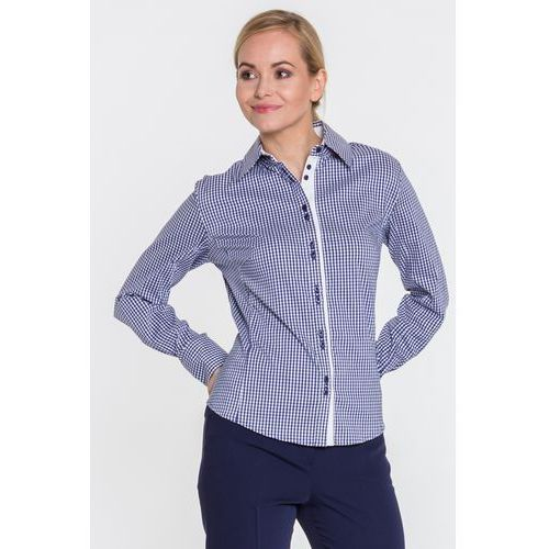 Koszula w kratkę z kokardą - Duet Woman, kolor niebieski